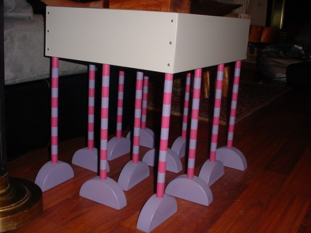 "Our ""happy feet"" table made by my husband, John."